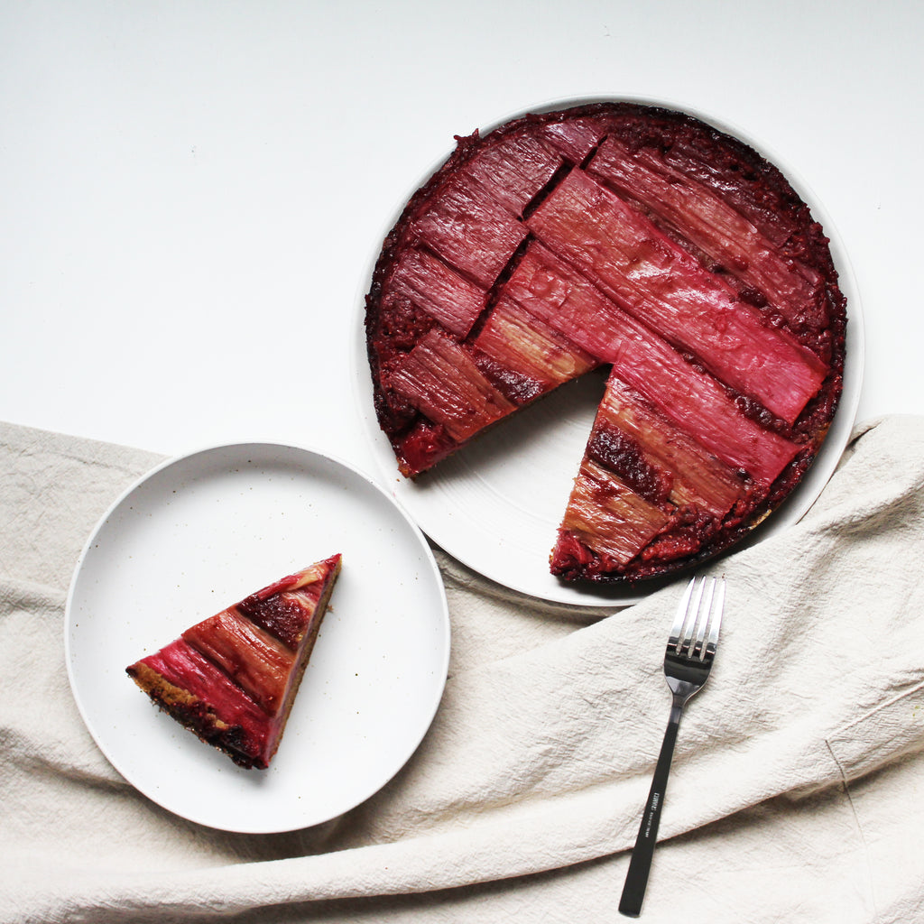 Grain-Free Raspberry Rhubarb Upside-Down Cake