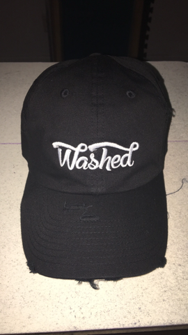 """Washed"" Dad Hat Black Distressed"