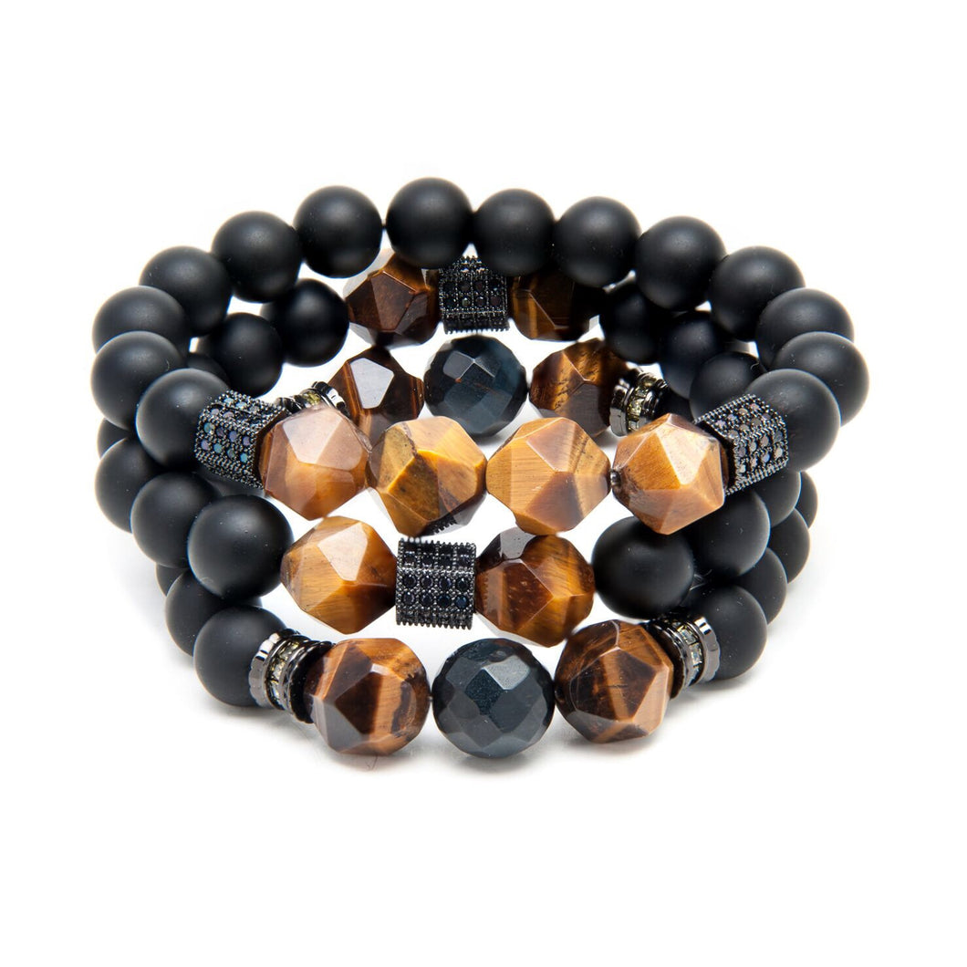 91 - Fasciated AAA Grade Tigers Eye, Matte Onyx and Rare Blue Tigers Eye