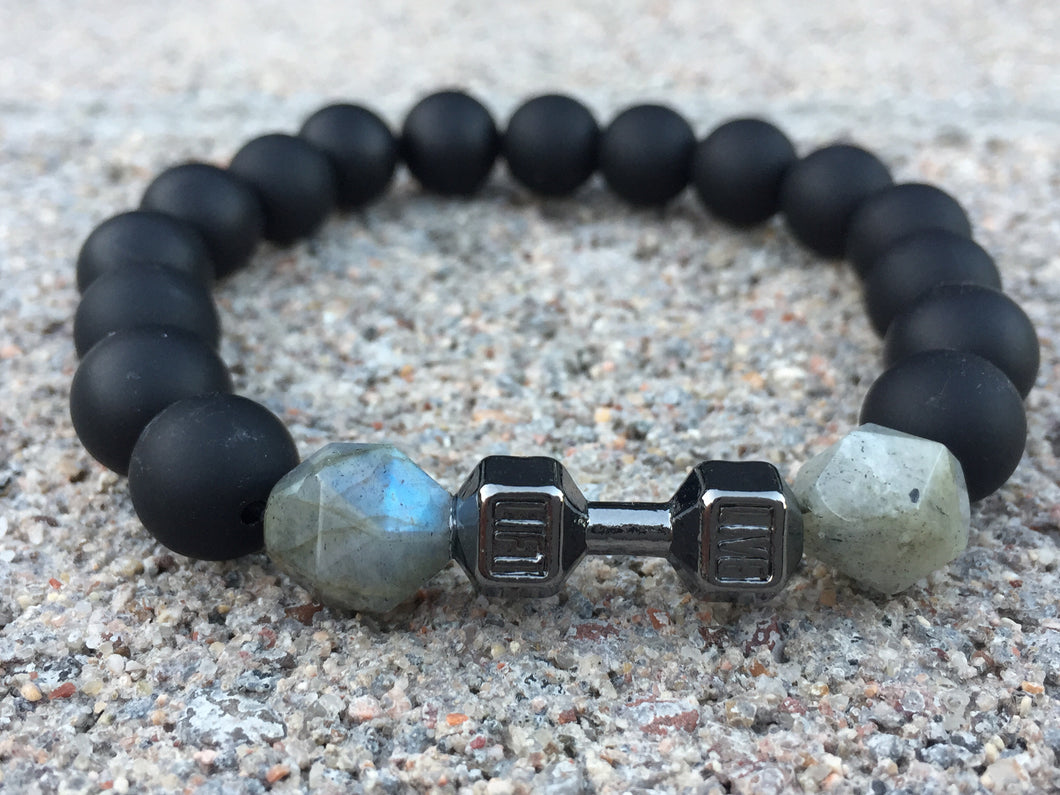 98(o) - LIVE FIT! Rare Faceted Labradorite & Matte Onyx