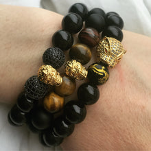 95 - Cubic zirconium, 10K Gold Plated Gragon Ball, Tiger eye & Onyx