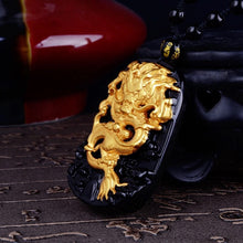 11(n) - Lucky Dragon Obsidian Pendant - TRIPLE GOLD PLATED