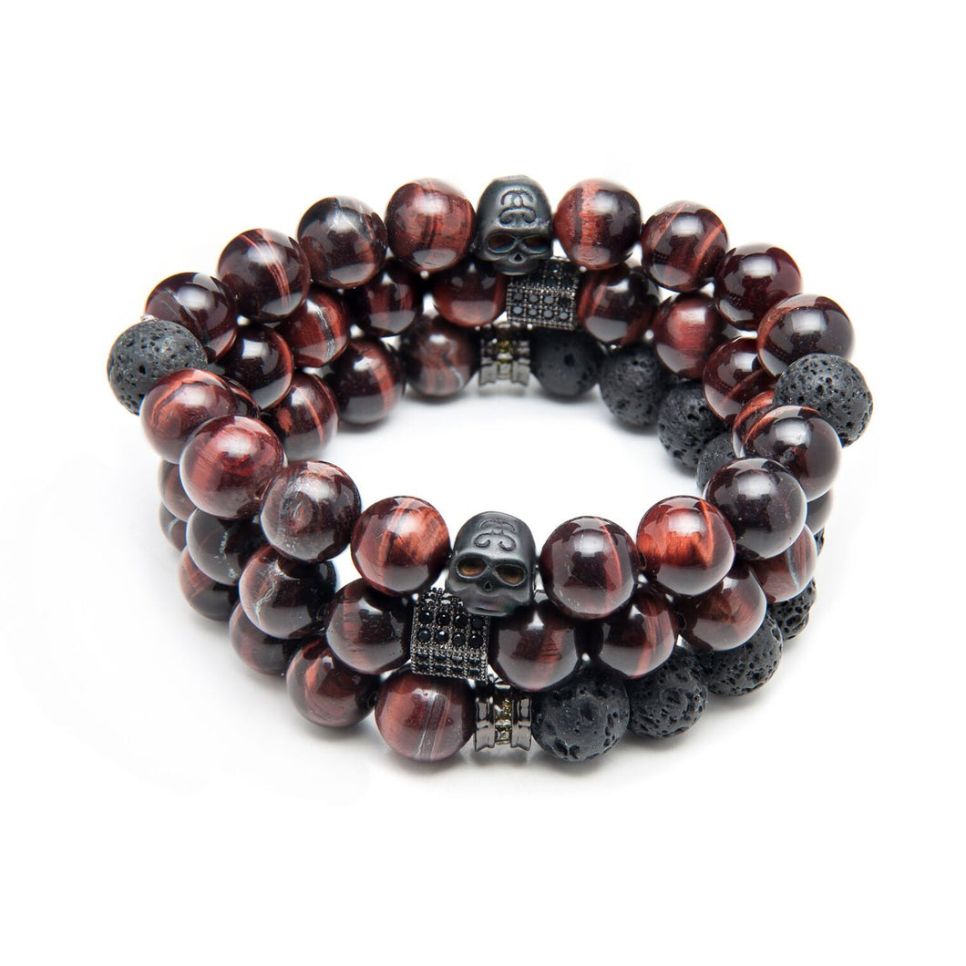 85 - Triple AAA Grade Rare Red Tigers Eye, Stainless Steel Skulls & Volcanic Lava Rock