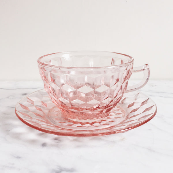 Cubist Diamond Antique Glass Teacup & Saucer