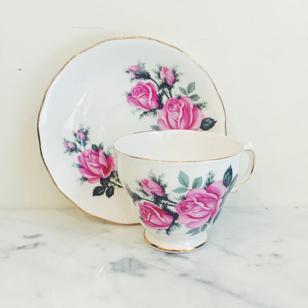 Vintage Royal Vale Pink Rose Teacup & Saucer