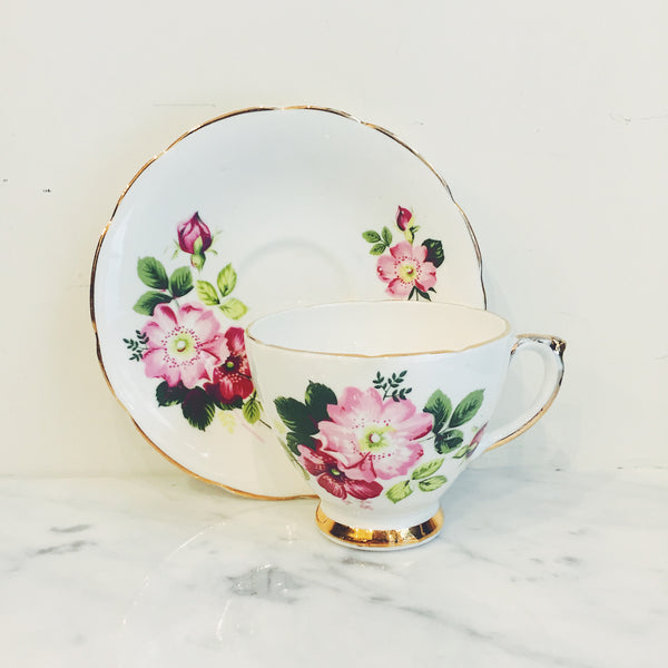 Vintage Delphine Pink Cosmos Teacup & Saucer