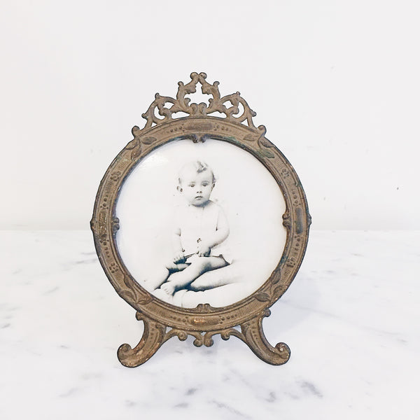Antique French Ormolu Brass Round Photo Frame w/ Baby Photo