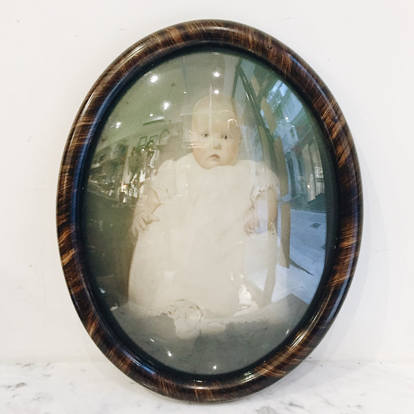 Antique Victorian Baby Chalk Portrait with Tiger Wood Frame
