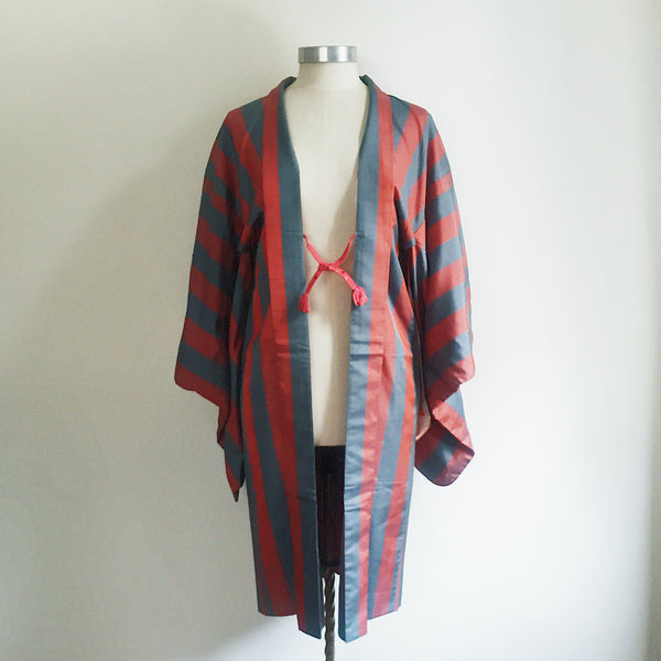 Vintage Kimono Haori Jacket - Orange / Blue Retro Stripe