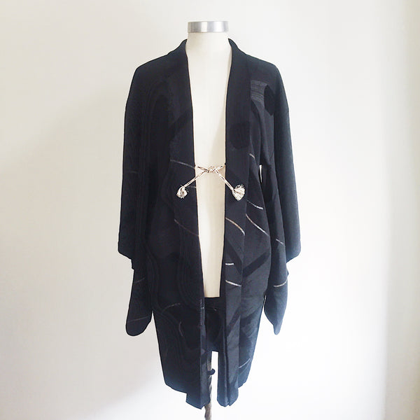 Antique Kimono Haori Jacket - Metallics & Cut Velvet Scrolls/ Midnight Black