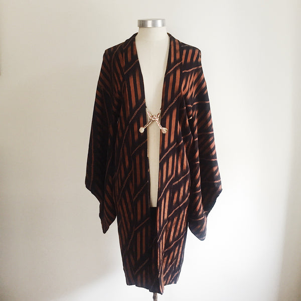 Antique Kimono Haori Jacket - Diagonal & Straight Stripes/ Mahogany & Black