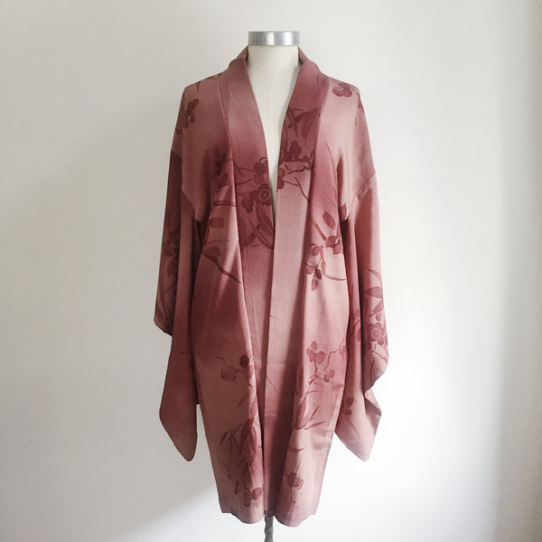 Antique Kimono Haori Jacket - Plum Blossom/ Dusk Purple Brown