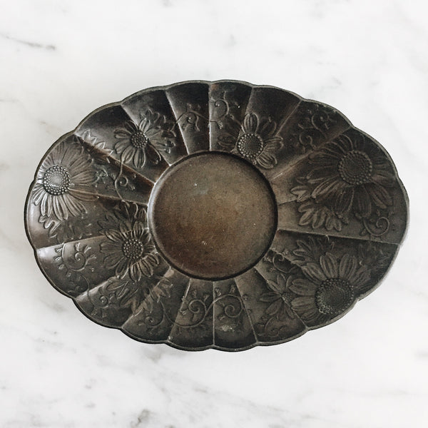 Antique Japanese Bronze Daisy Dish