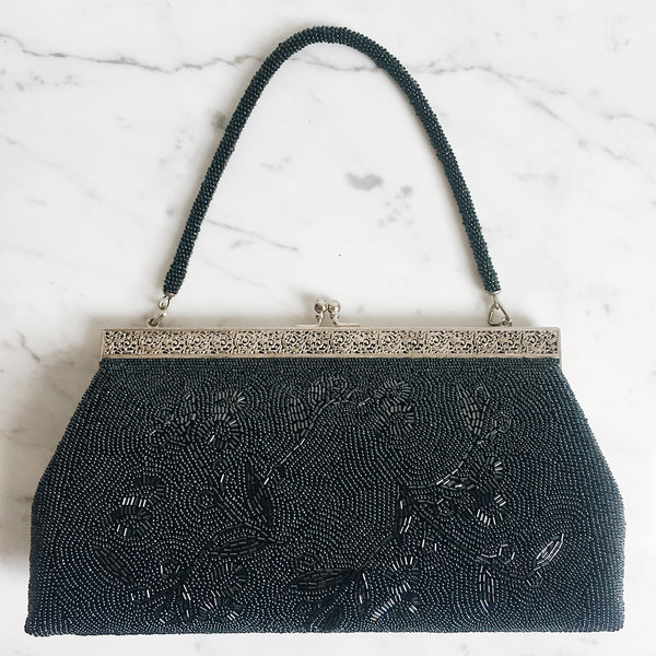 Vintage Black Beaded Flowers Handbag