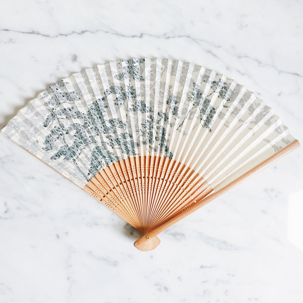 Vintage Japanese Paper Fan - Shadow of the Trees