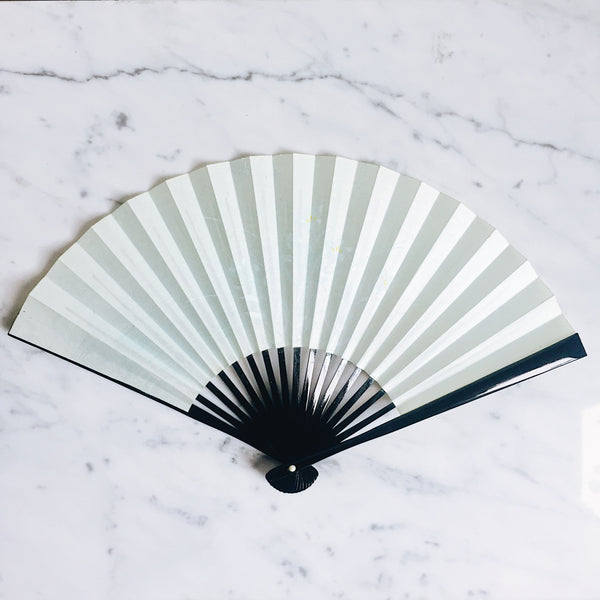 Vintage Japanese Paper Fan -  Mint White Flowers x Black Lacquer