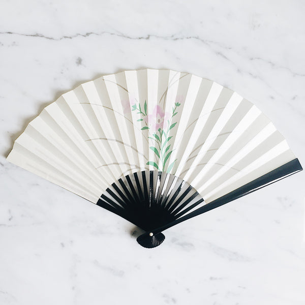 Vintage Japanese Paper Fan - Purple Flower x Black Lacquer