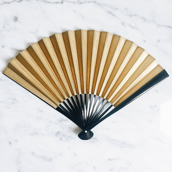 Vintage Japanese Paper Fan - Gold & Silver x Black Lacquer