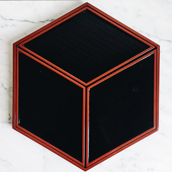 Vintage Black Lacquer Hexagonal Nested Tray