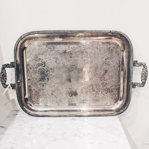 Vintage Silverplated Scroll & Shell Tray - L