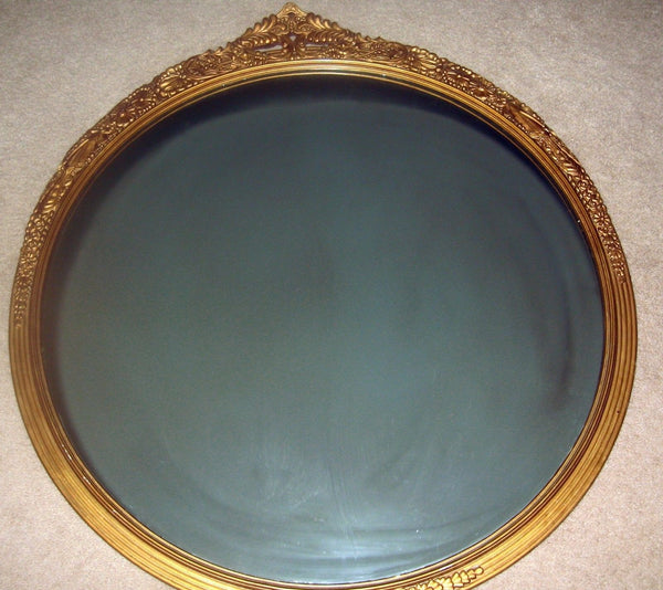 Antique Golden Gilt Round Mirror