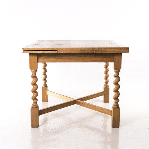 Antique Solid Oak Dining Table with Barley Twist