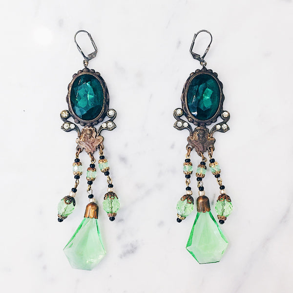 Antique Bohemian Art Nouveau Earrings- Lady of the Forest