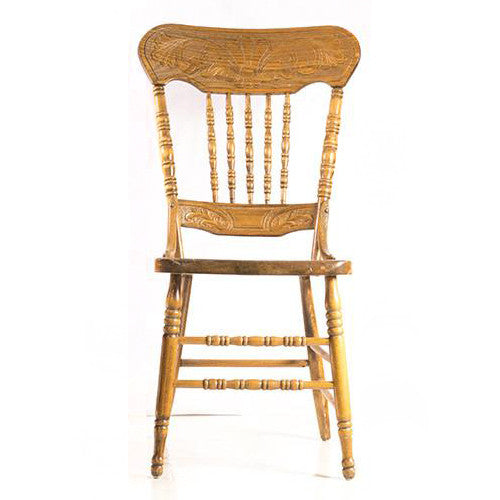 Solid Oak Antique Press Back Chair
