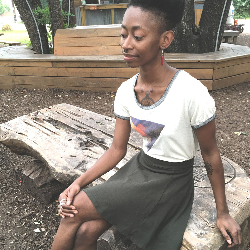 Organic cotton t-shirt and skirt in Austin, TX.