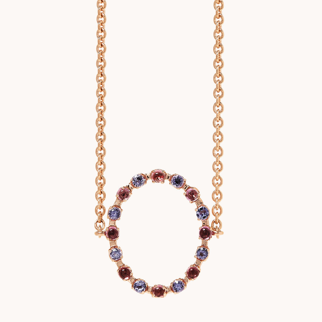 14k rose gold chocker with purple tanzanites & rhodolites.