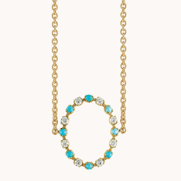 Circle Diamond and Turquoise Choker in 14k yellow gold.