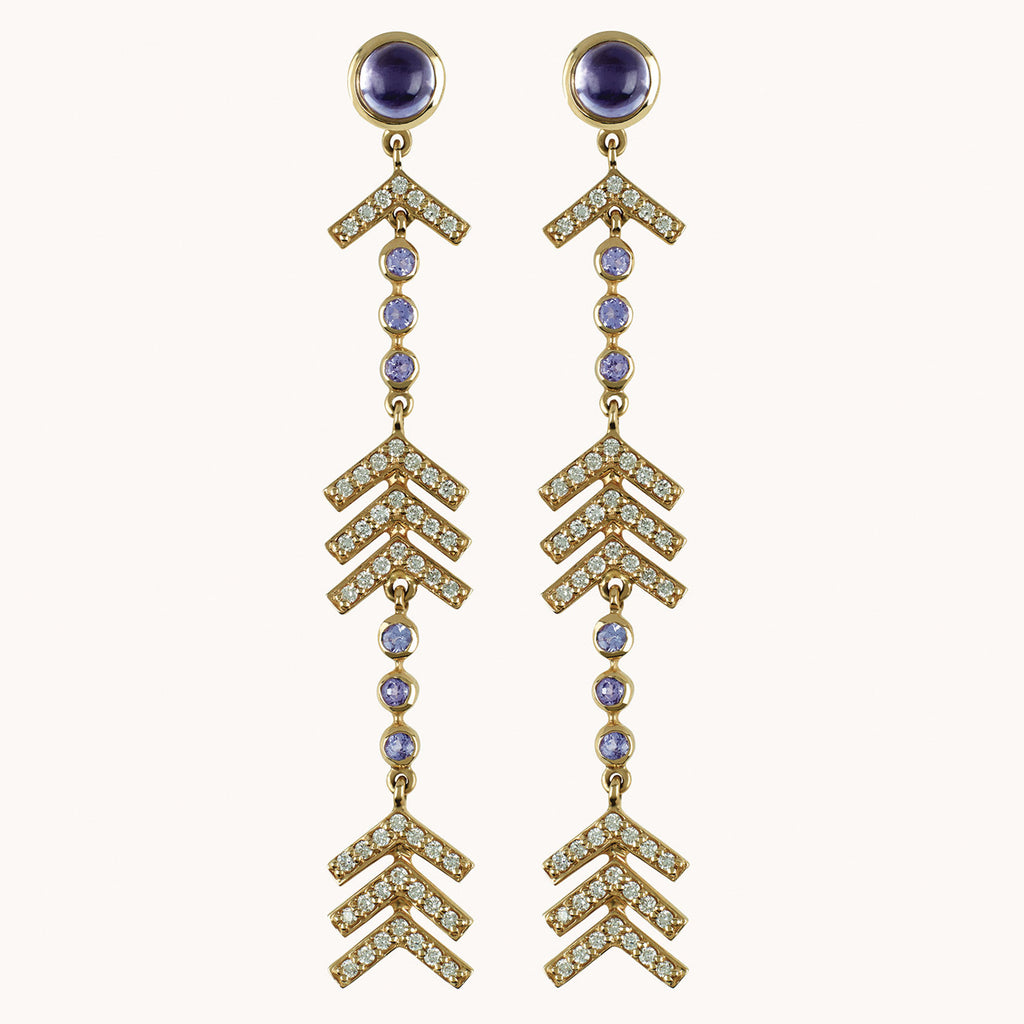 Long Arrow Earrings with Diamond, Lolite and Tanzanite.