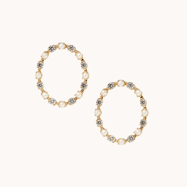 14k yellow gold circle earrings with white diamonds & white pearls.