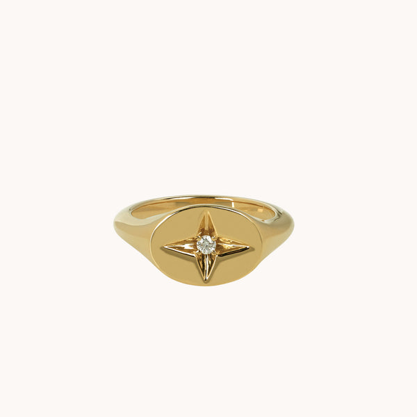 14k Yellow Gold Guiding Star Signet Ring