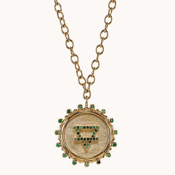 Marlo Laz Earth Element necklace with green sapphires