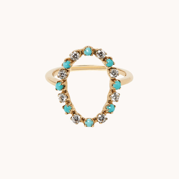Circle Diamond and Turquoise Ring in 14k yellow gold.