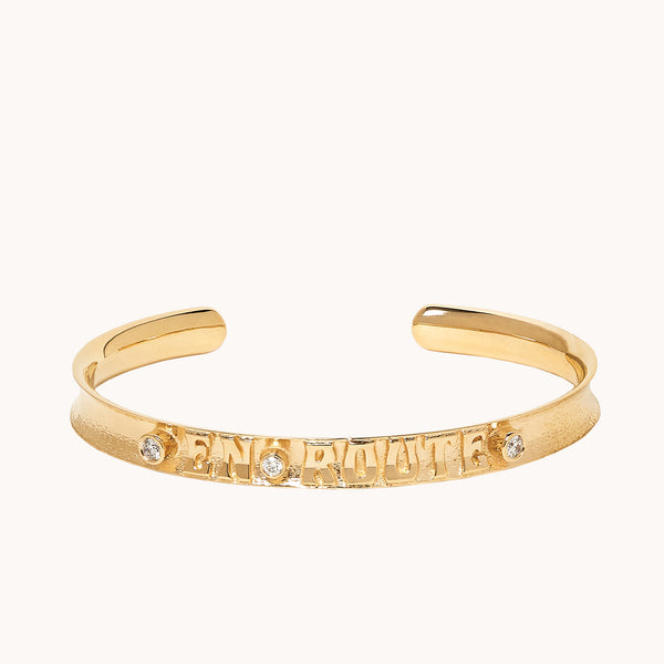 Gold cuff bracelet with diamonds