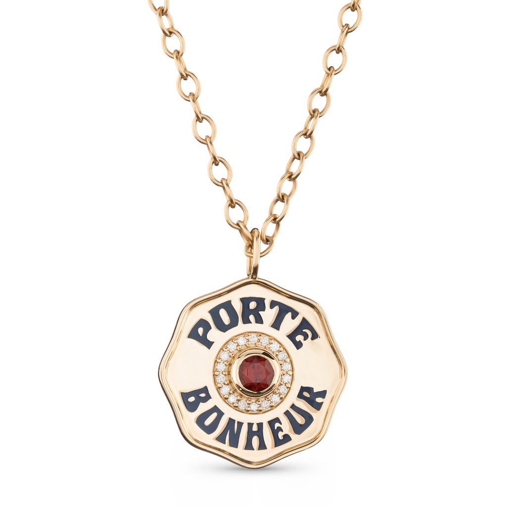 Large Gold Porte Bonheur Coin Necklace with Garnet, Diamonds and Navy Enamel