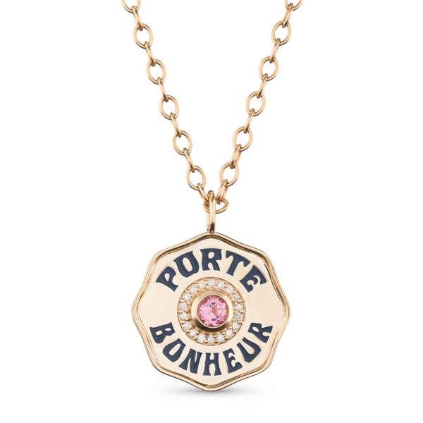 Large Gold Porte Bonheur Coin Necklace with Pink Tourmaline, Diamonds and Navy Enamel