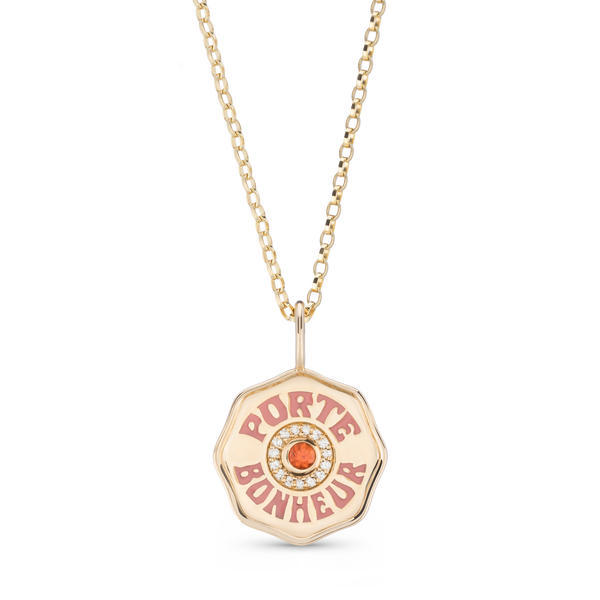 Enamel Porte Bonheur Gold Coin Necklace with Orange Sapphire and Diamonds