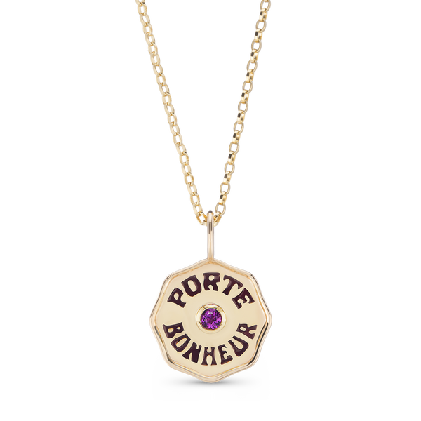 Gold Enamel Porte Bonheur Coin Necklace with Amethyst