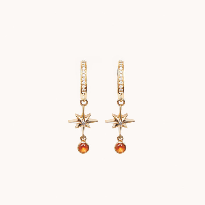 Lucky Star Diamond Hoop Earrings, Earrings - Marlo Laz