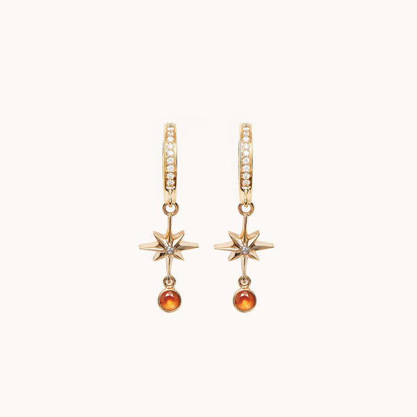 Lucky Star Diamond Hoop Earrings
