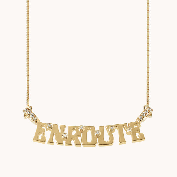 "Wordplate Necklace ""EnRoute"", Necklaces - Marlo Laz"