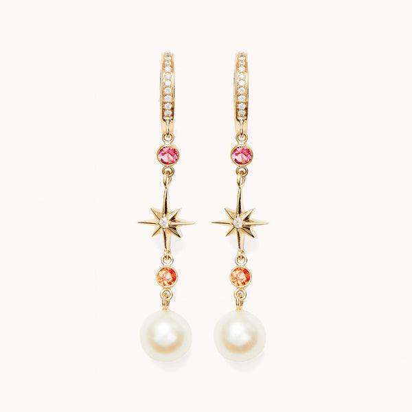 14k gold Drop Earrings with pearls.