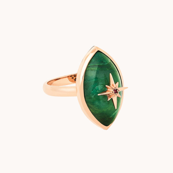 Evil Eye Ring 14k Gold with green jade