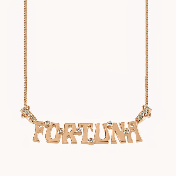 "Wordplate Necklace ""Fortuna"""
