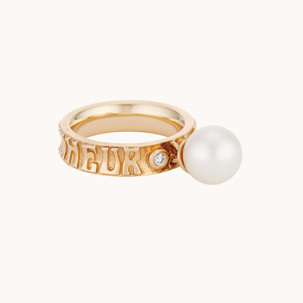 14k yellow and rose gold pearl ring with diamonds