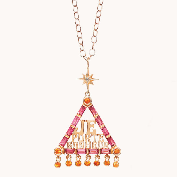 Pink Tourmaline Triangle Necklace