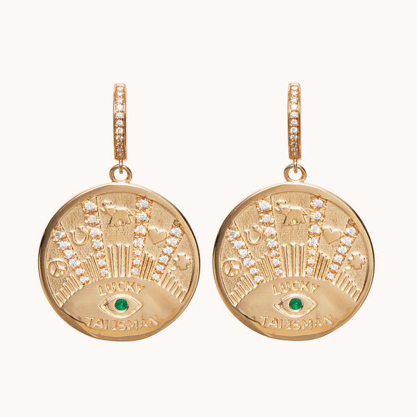 Talisman Coin Earrings, Earrings - Marlo Laz